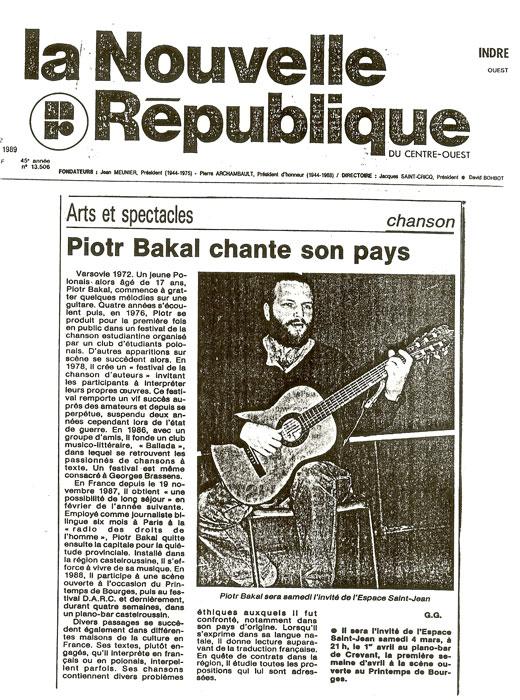 Piotr Bakal - artykuł w la Nouvelle Republique 1989