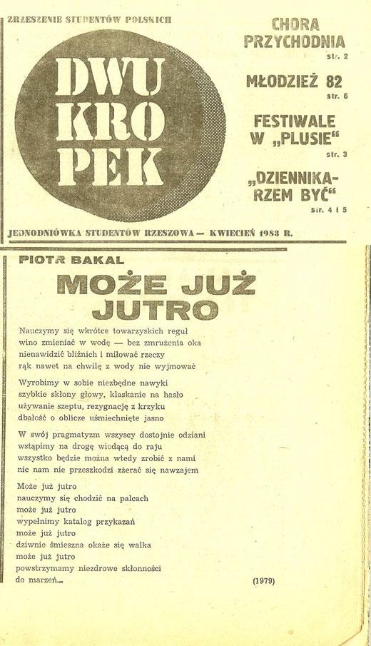 Piotr Bakal - piosenka pt. Może już jutro w Dwukropku 1983