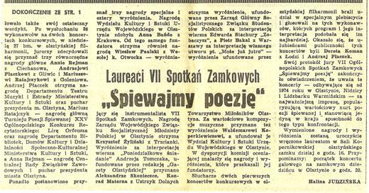 Piotr Bakal - artykuł pt. Laureaci XVII Spotkań Zamkowych - Śpiewajmy Poezję 1980