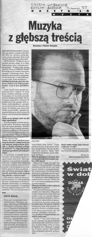 Rozmowa z Piotrem Bakalem w łódzkiej edycji Gazety Wyborczej 1997