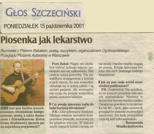 Piotr Bakal - wywiad dla Głosu Szczecińskiego 2001