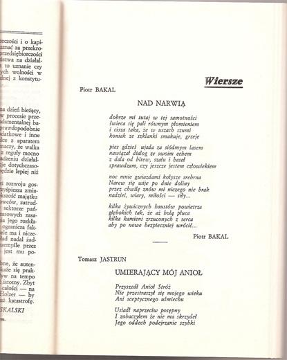 Piotr Bakal - tekst piosenki Nad Narwią w paryskiej Kulturze