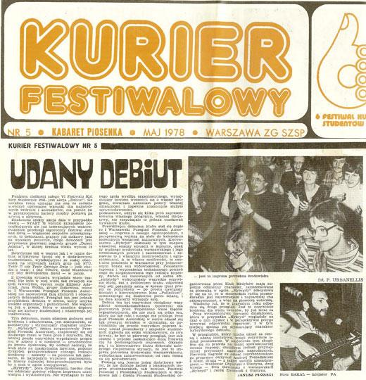 Artykuł o I WPPA w Kurierze Festiwalowym 6. Festiwalu Kultury Studentów 1978