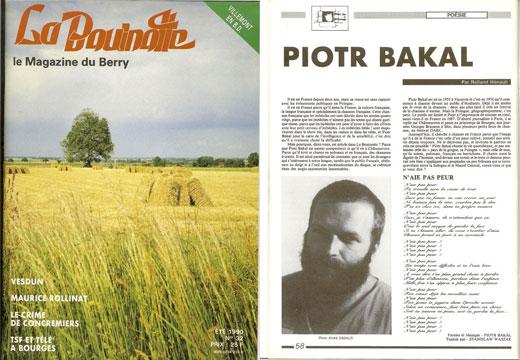 Piotr Bakal - artykuł w La Bouinotte 1990
