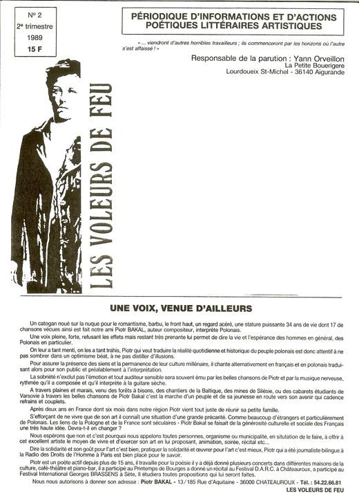 Piotr Bakal - artykuł z pisma Les Voleurs de Feu 1989