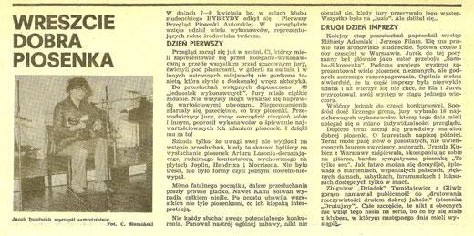 Piotr Bakal w miesięczniku studenckim Merkuriusz 1978