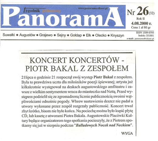 Koncert Piotra Bakala w Augustowie - Panorama 2000