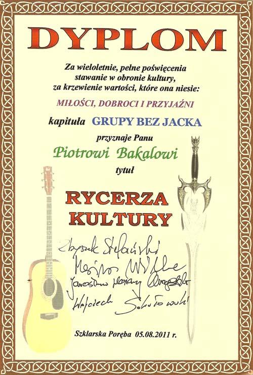 Dyplom i tytuł Rycerza Kultury od grupy Bez Jacka
